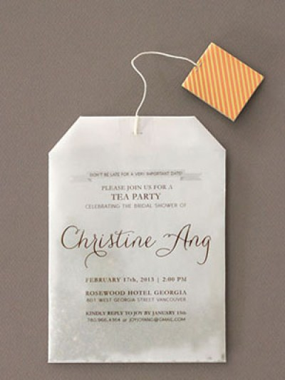 diy tea bag bridal shower invitation idea