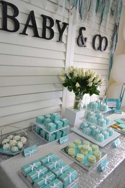 tiffany and co theme for dessert table decoration baby shower