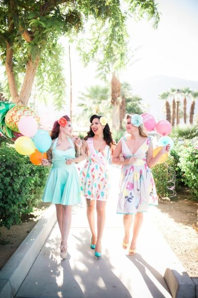 retro outfit style for bridal shower party