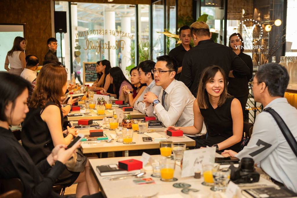 Guests at the 1st Venuerific Luncheon Dining and Having Conversations