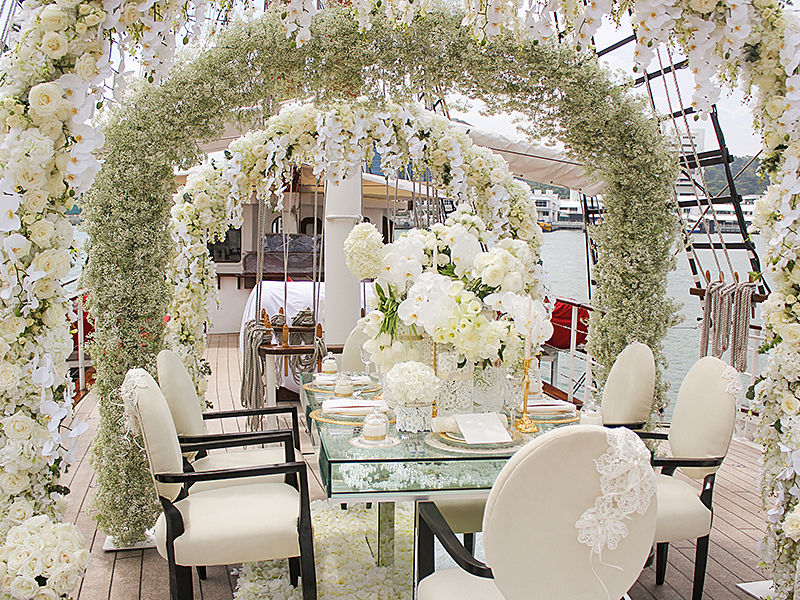 floral wedding on a ship