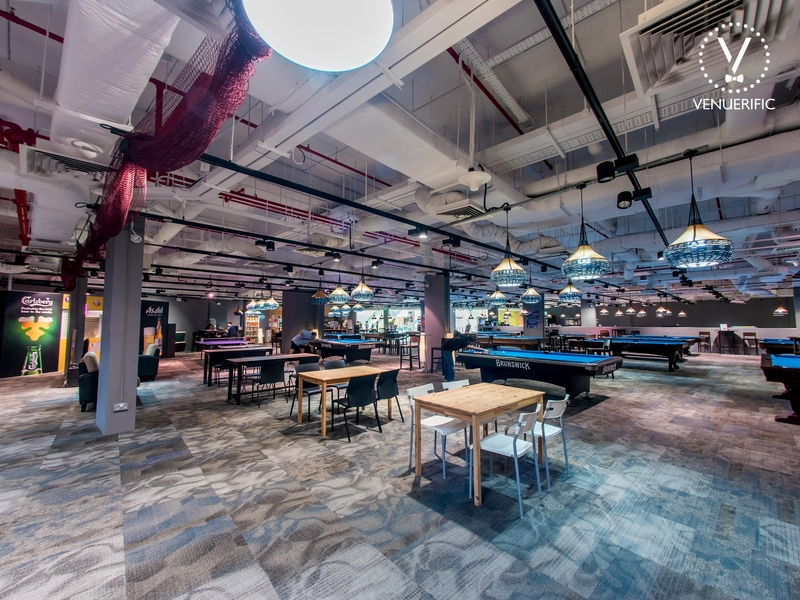 party venue with pool table, board games, console games