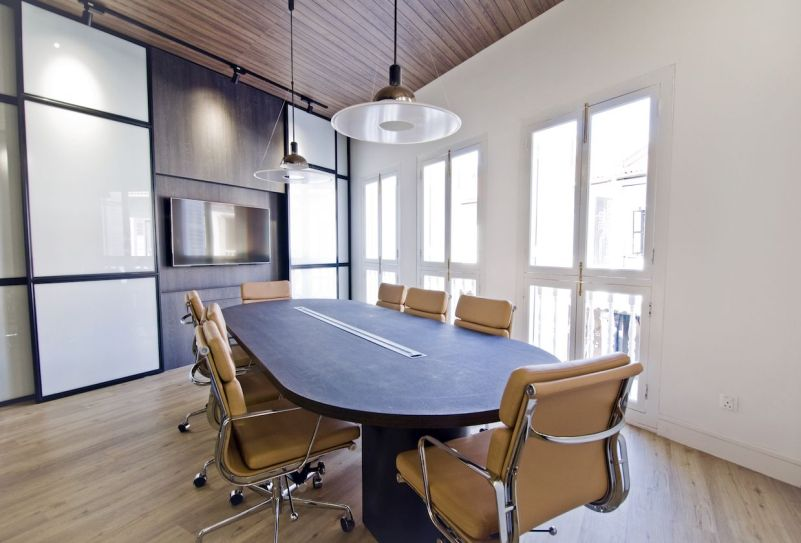 small meeting room with wooden floor