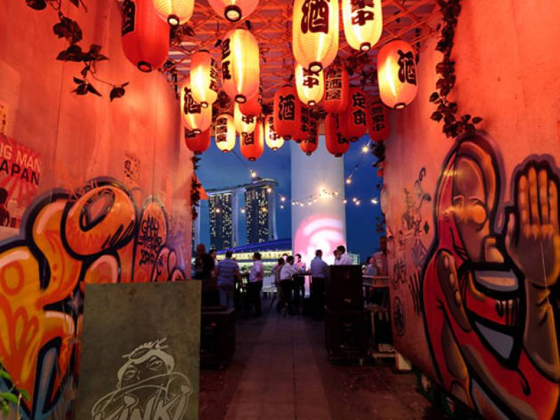 modern japanase style restaurant bar with graffiti