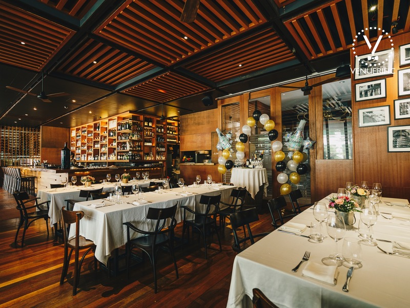 intimate event space with birthday balloon setting