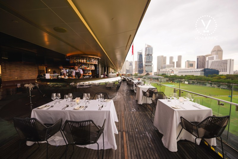 Outdoor seating area at smoke and mirrors with city view