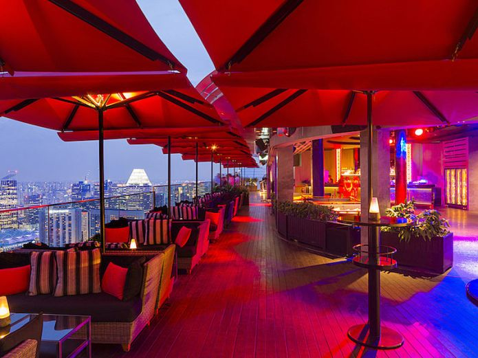 rooftop bar night view in marina bay sand