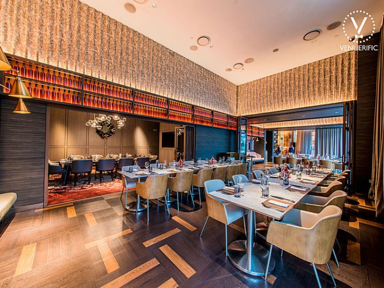 grissini restaurant interior with gold red theme