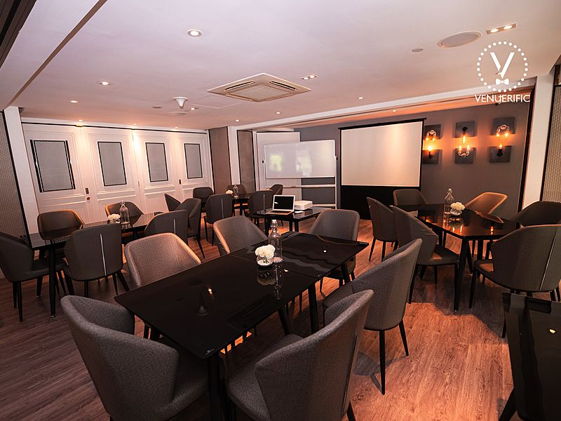 classy wooden seminar room with screen projector