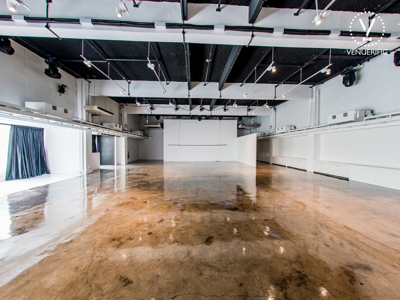 event space with white walls and glossy flooring