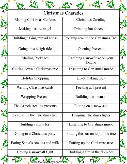 christmas charades list of words for games