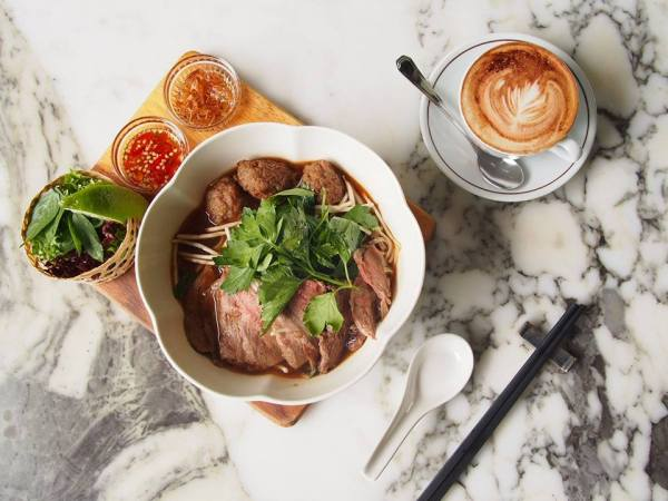 vietnamase beef pho served with hot cappucino