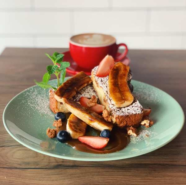 fruit french toast served with coffee