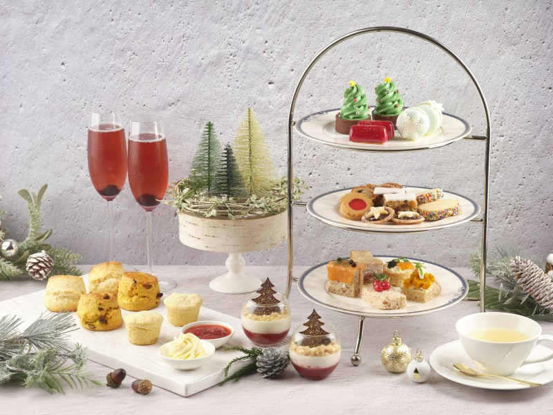 selections of beautiful and delicious dessert with wine