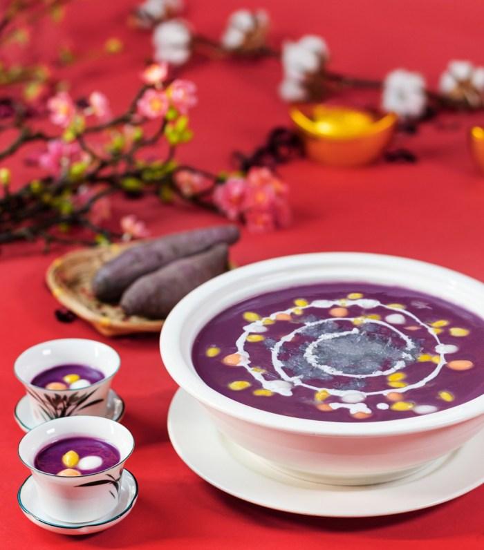 Hot Purple Sweet Potato Cream with Bird's Nest for Chinese new year celebration