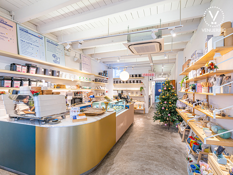 brightly lit, lifestyle retail cafe