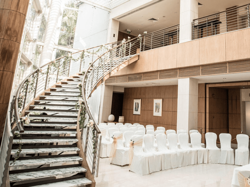 elegant spiral stairway for a grand wedding march in