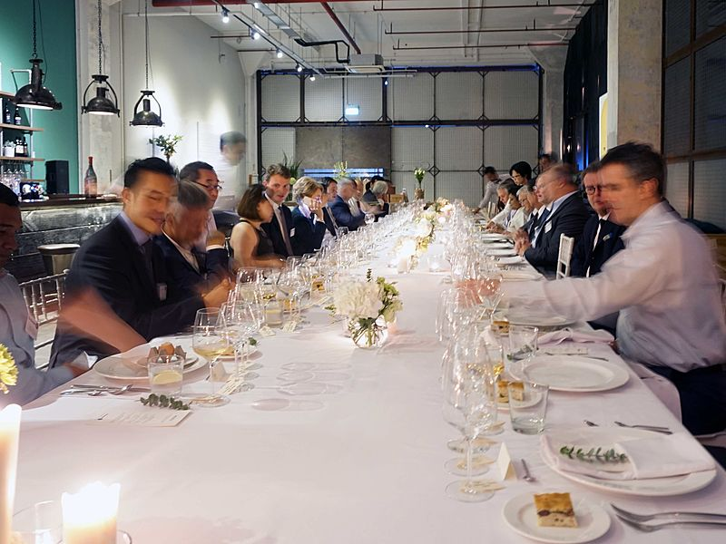 unique boardroom style wedding banquet