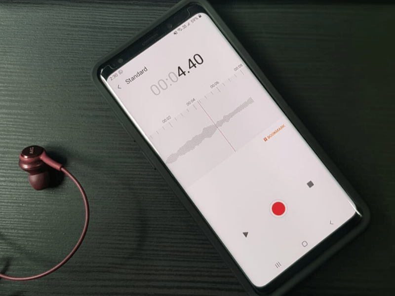 Audio recording app on a Samsung s9+
