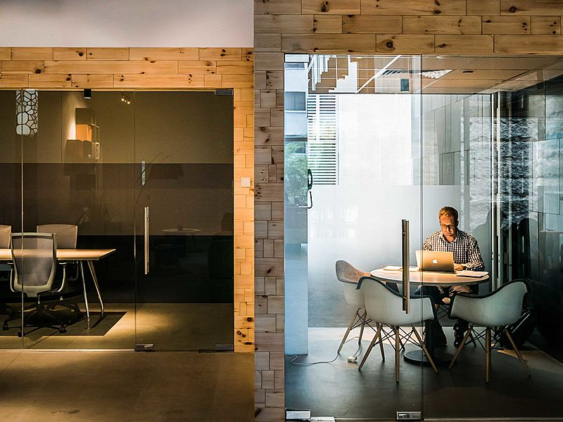 small meeting room in central singapore with glass door