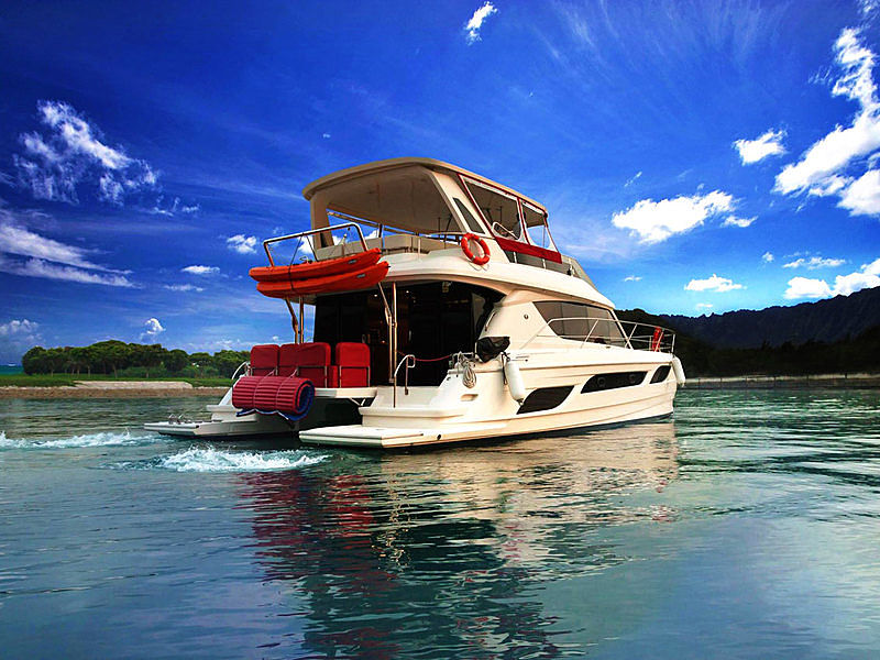 A beautiful double decker yacht on the sea