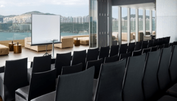 corporate training setup with panoramic view of hong kong harbour