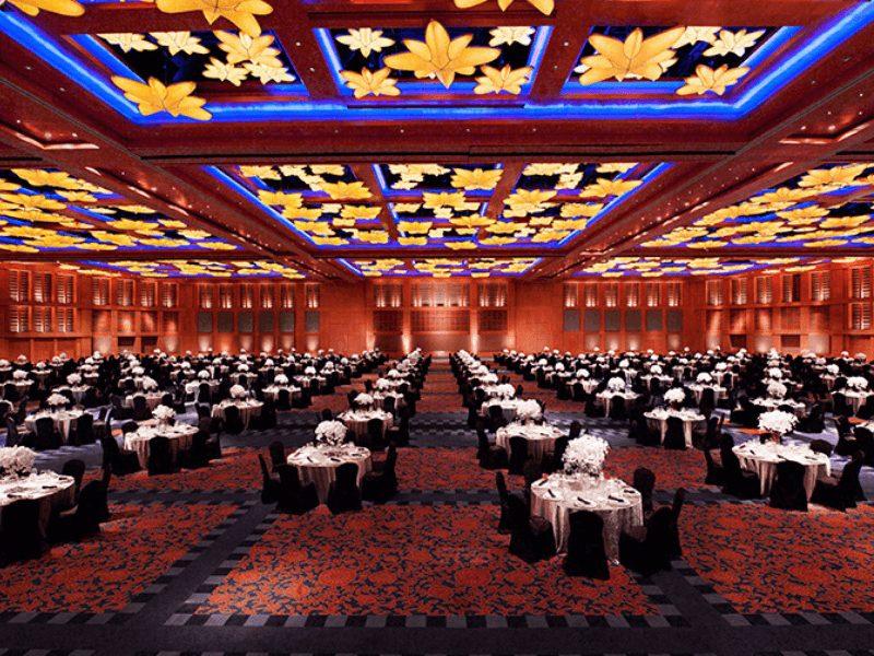 ballroom with yellow flower lights