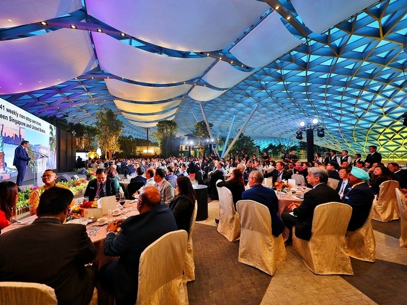 singapore large seminar space with banquet seating and patterned ceiling