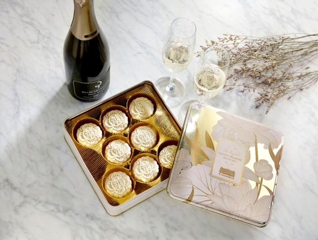 mooncake; champagne bottle