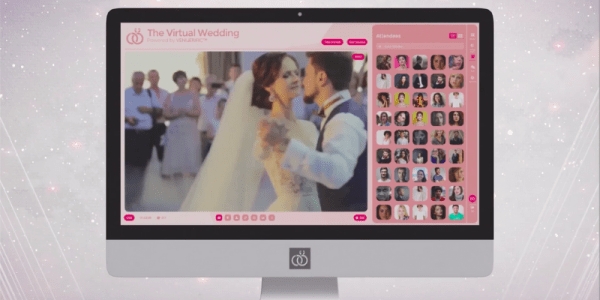 screen view of the virtual wedding event