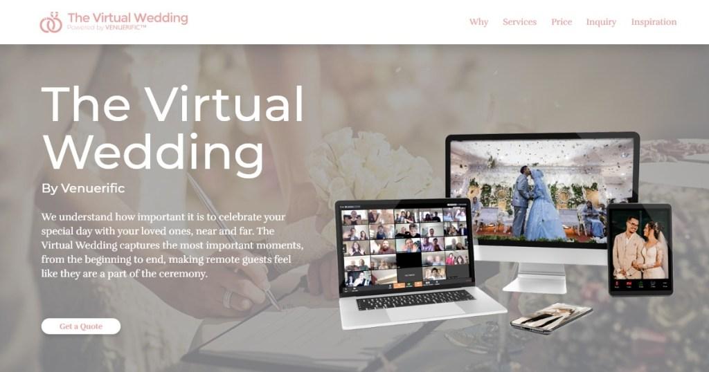 laptops with wedding ceremonies on screens
