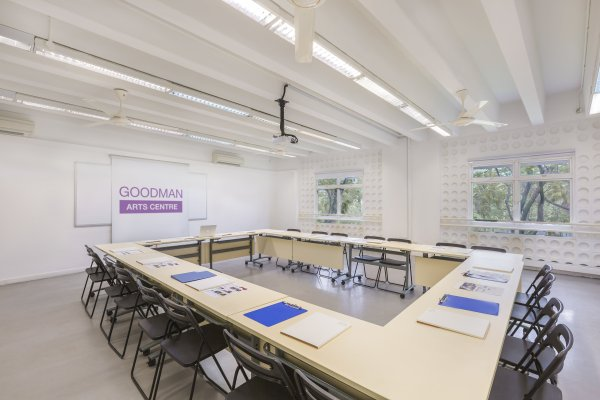 meeting room shows utilitarian old school charm