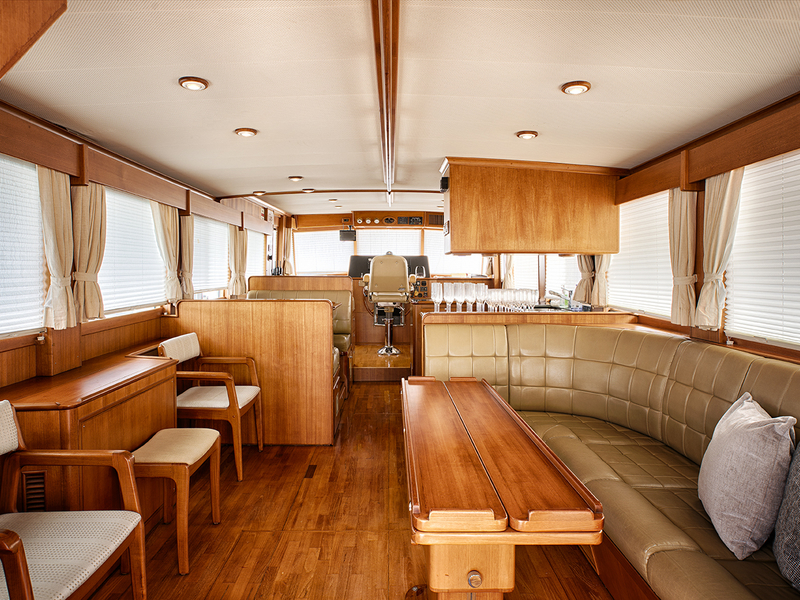 singapore honeymoon yacht with wooden interior