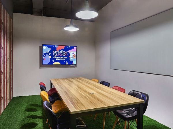 small meeting room equipped with whiteboard and tv screen