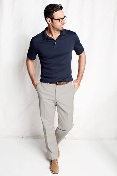 man in blue top and long pants