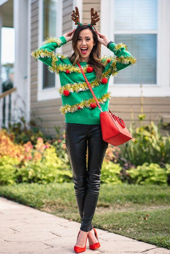 lady in a christmas sweater