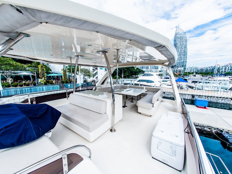 spacious flybridge with the stunning view