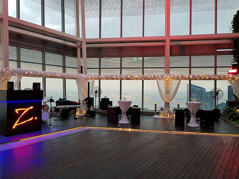 singapore sea view wedding venue with large windows and wooden floors