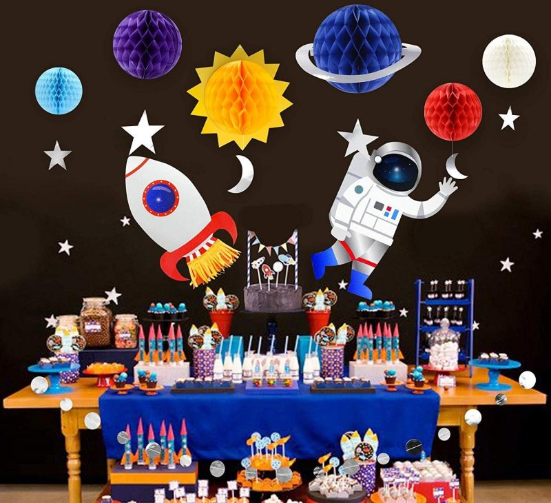 Space party with table set up in decorations