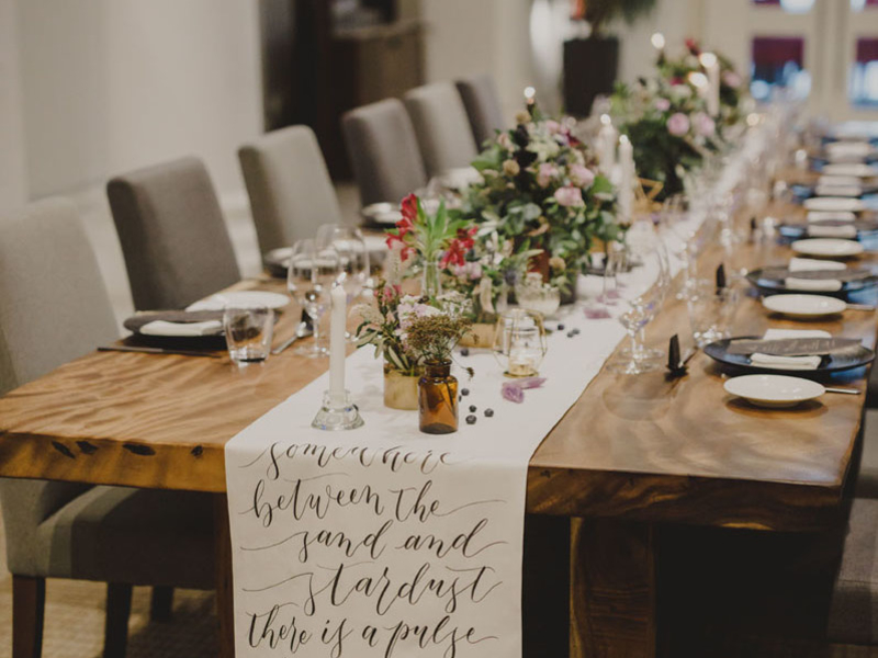dining table set up with wedding decor for solemnisation