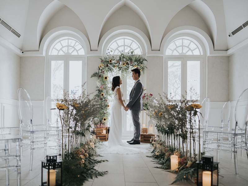Groom and Bride taking wedding vows