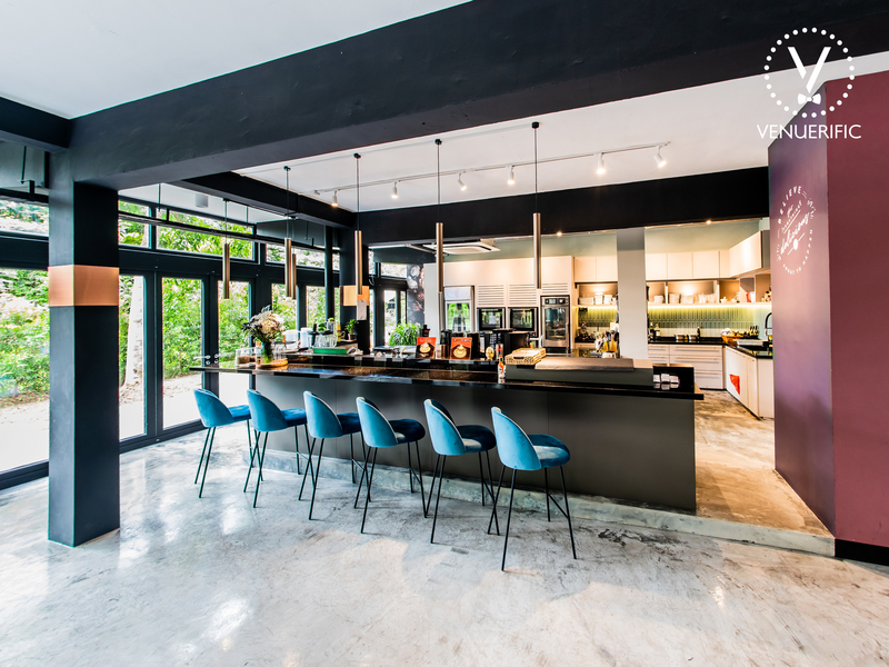 spacious restaurant event venue with open kitchen