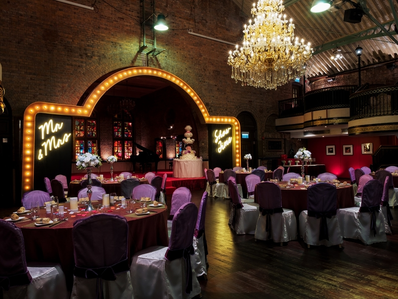 Ballroom with stage and show lighting
