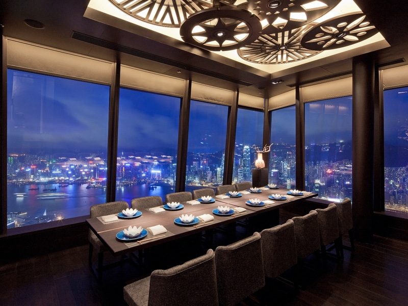 Dining area with view of Hong Kong