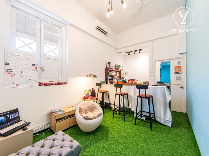 grass patched room with high chairs and laptop