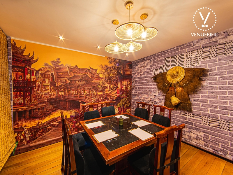 Meeting Table inside a traditional chinese themed room