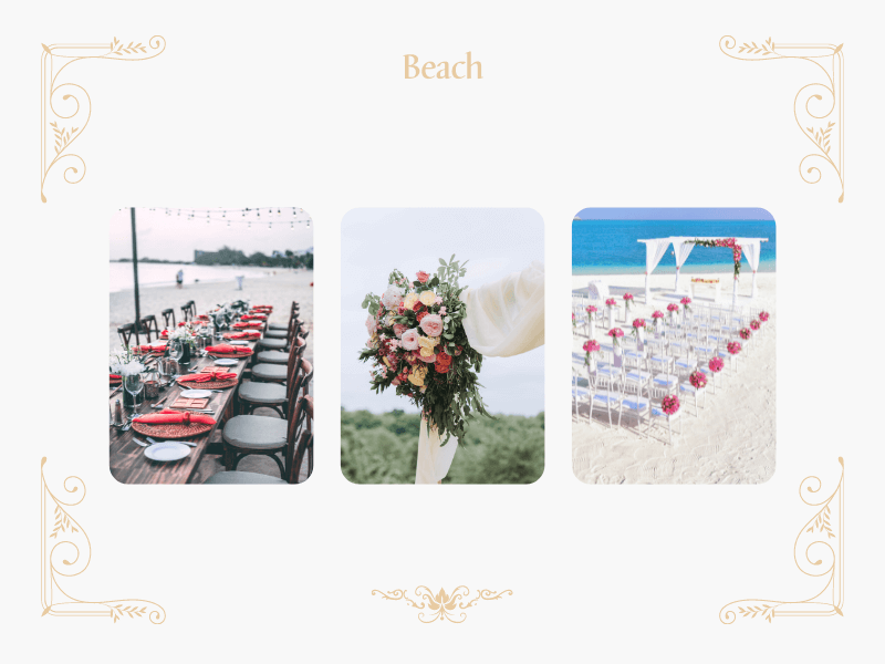 collage with beach table arrangements and flower arches