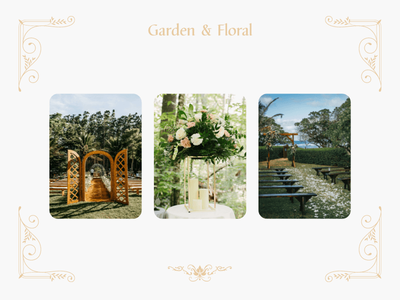 collage with flowers and wedding arches