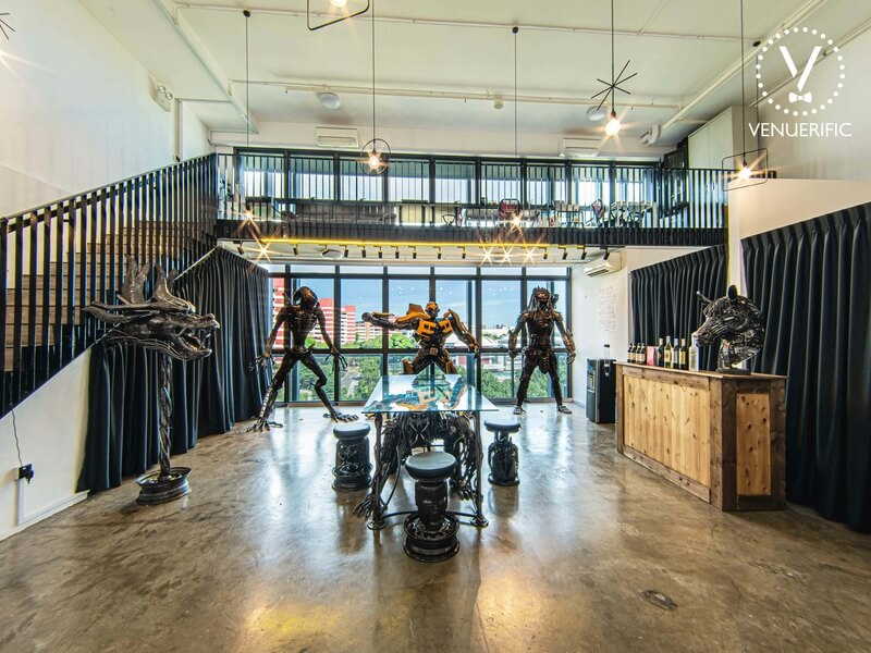 space with metal art sculptures