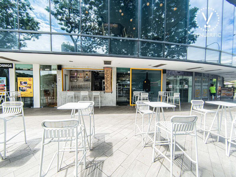 outdoors seating area of a cafe